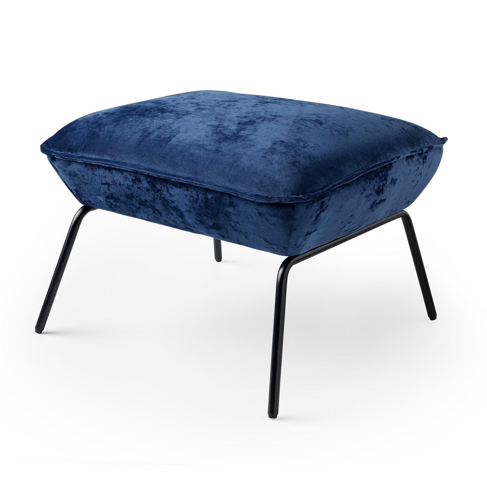 SCOTT - Poef velvet 57x51x40 cm Insignia Blue