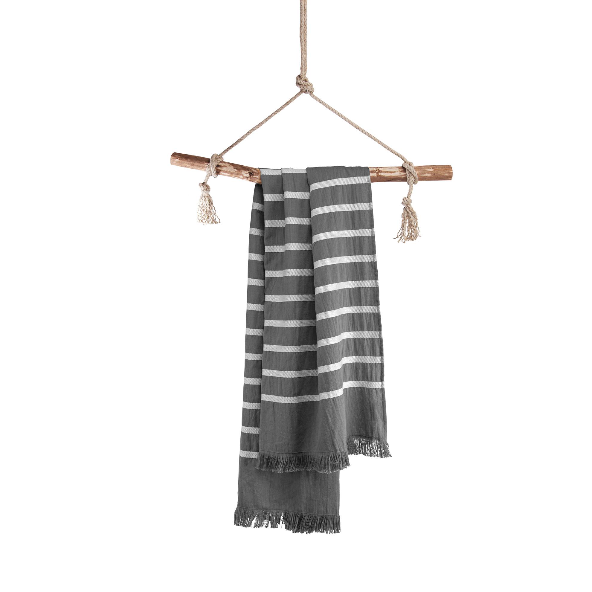 Hamamdoek Walra Fouta Sunny Stripes 100x180 cm Antraciet