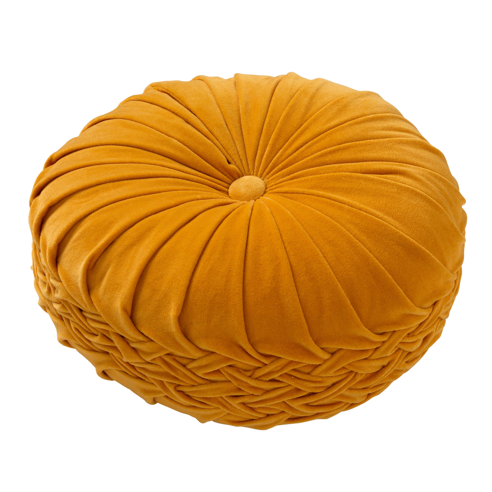KAJA - Sierkussen rond velvet Golden Glow 40 cm