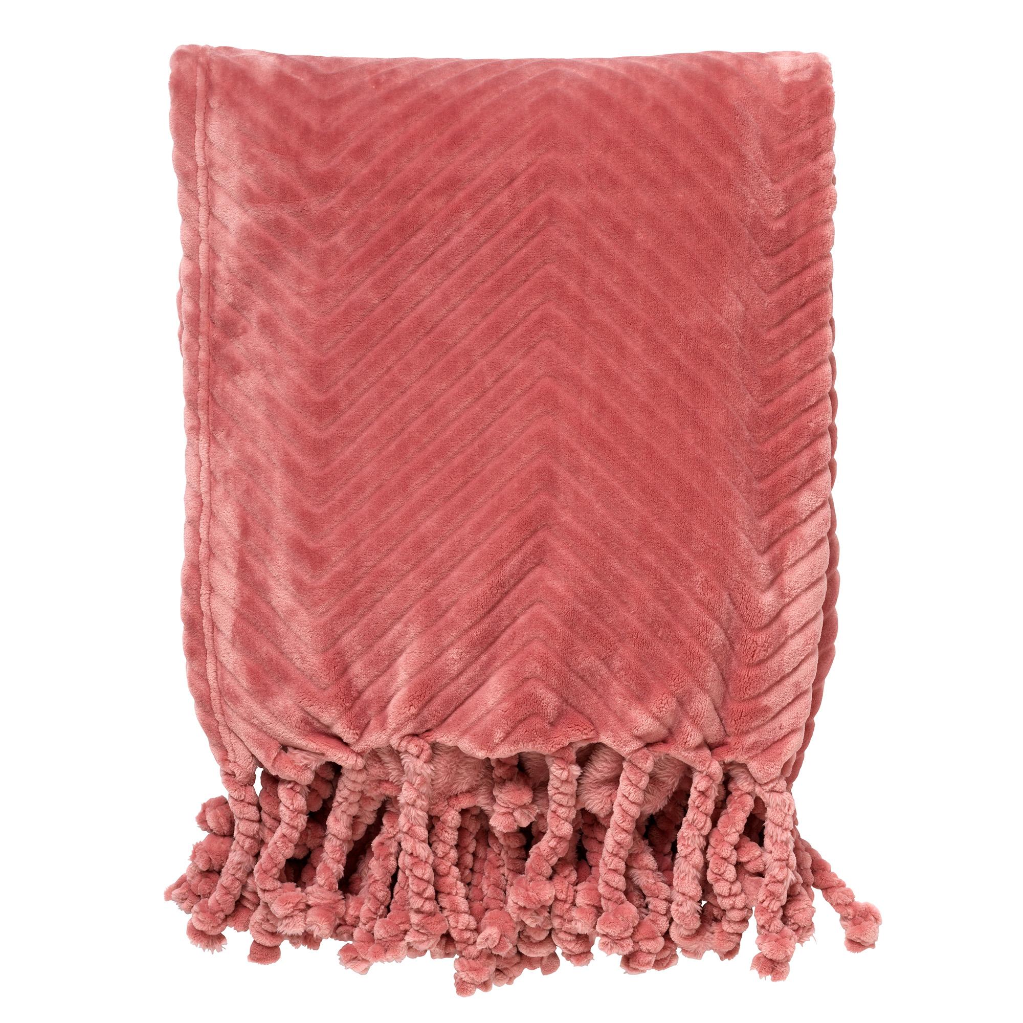 ZIGGY - Plaid van fleece 140x180 cm Dusty Rose