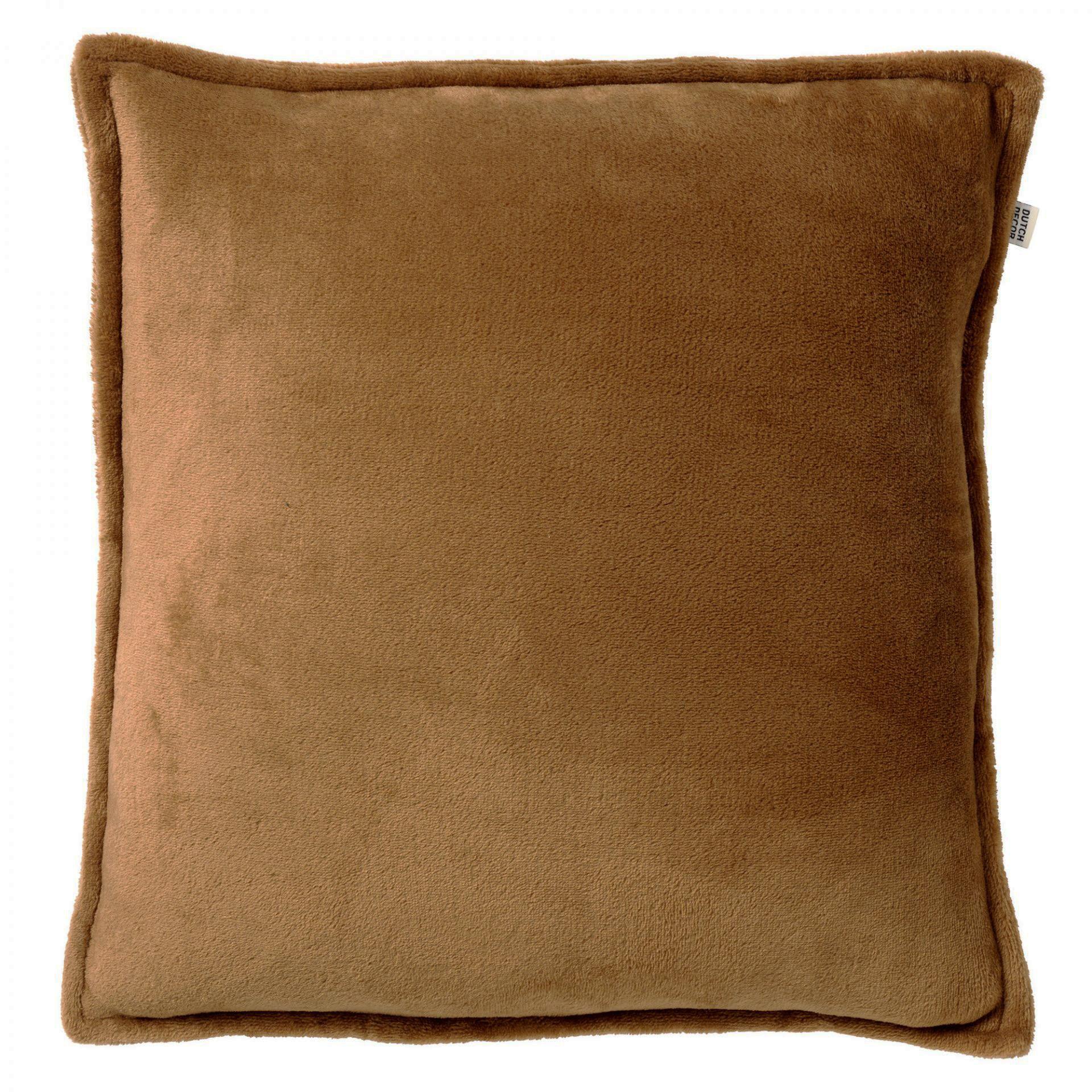 CILLY - Kussenhoes van fleece Tobacco Brown 45x45 cm