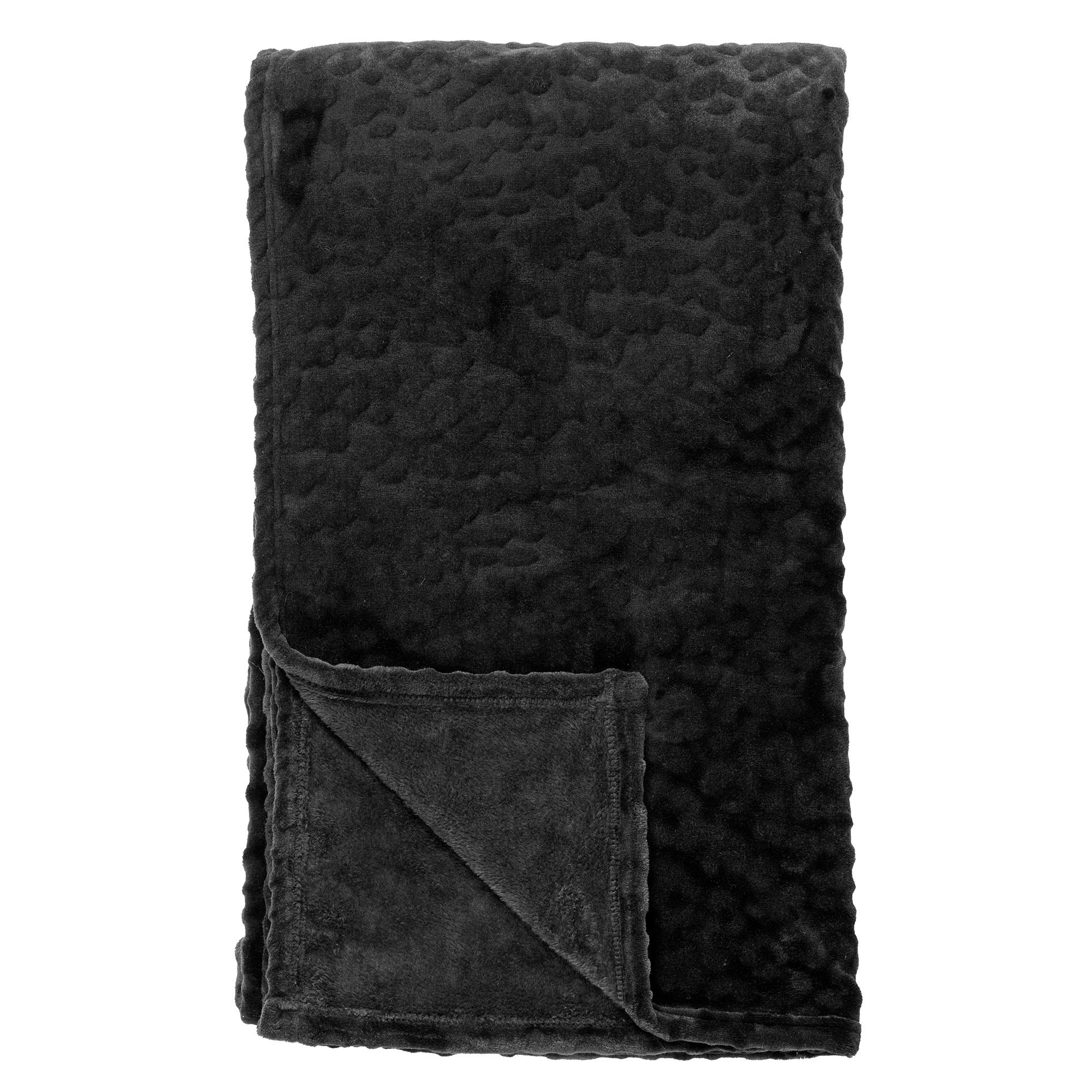 CHESTER - Plaid van fleece 150x200 cm Raven