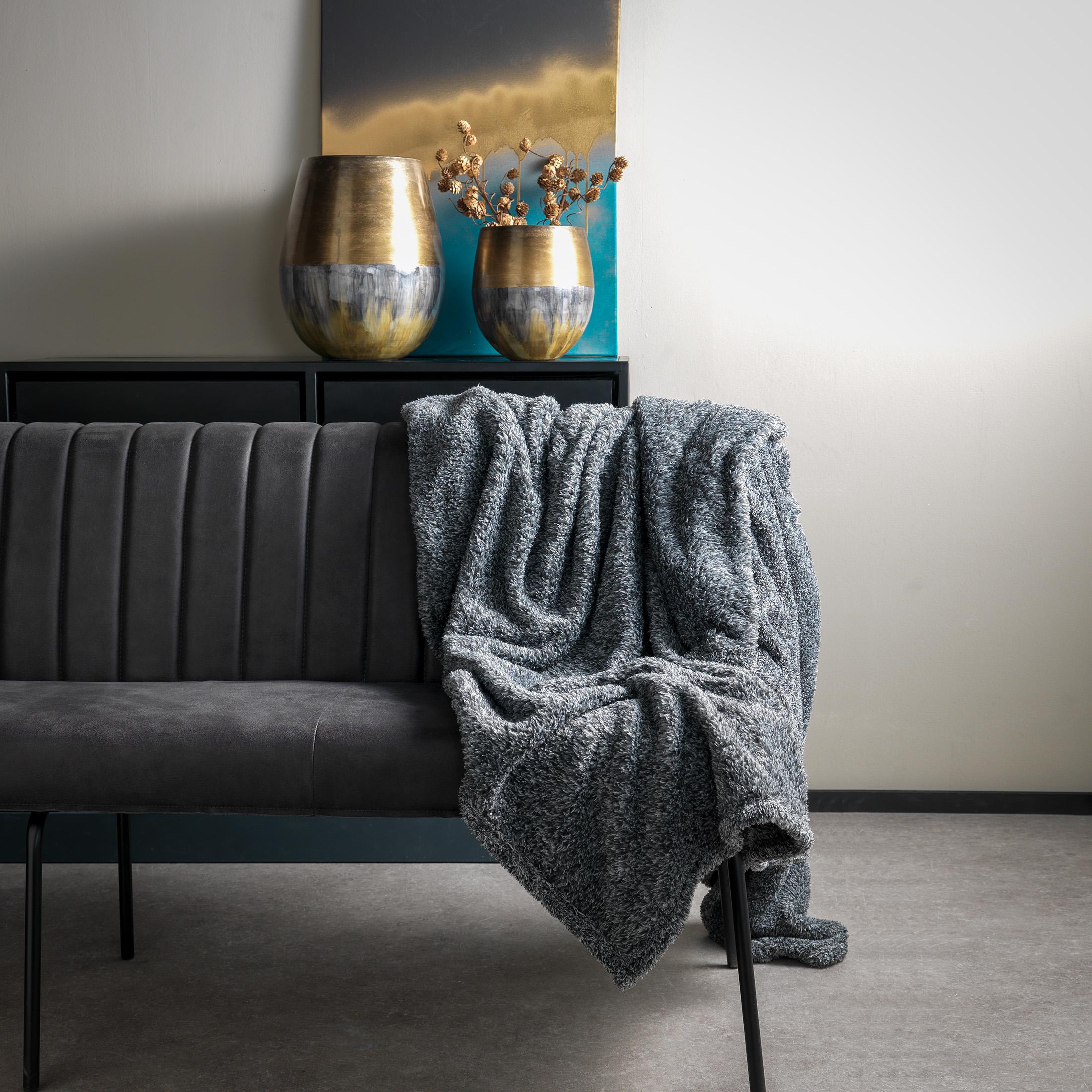 OSCAR - Plaid Charcoal Gray 140x180 cm