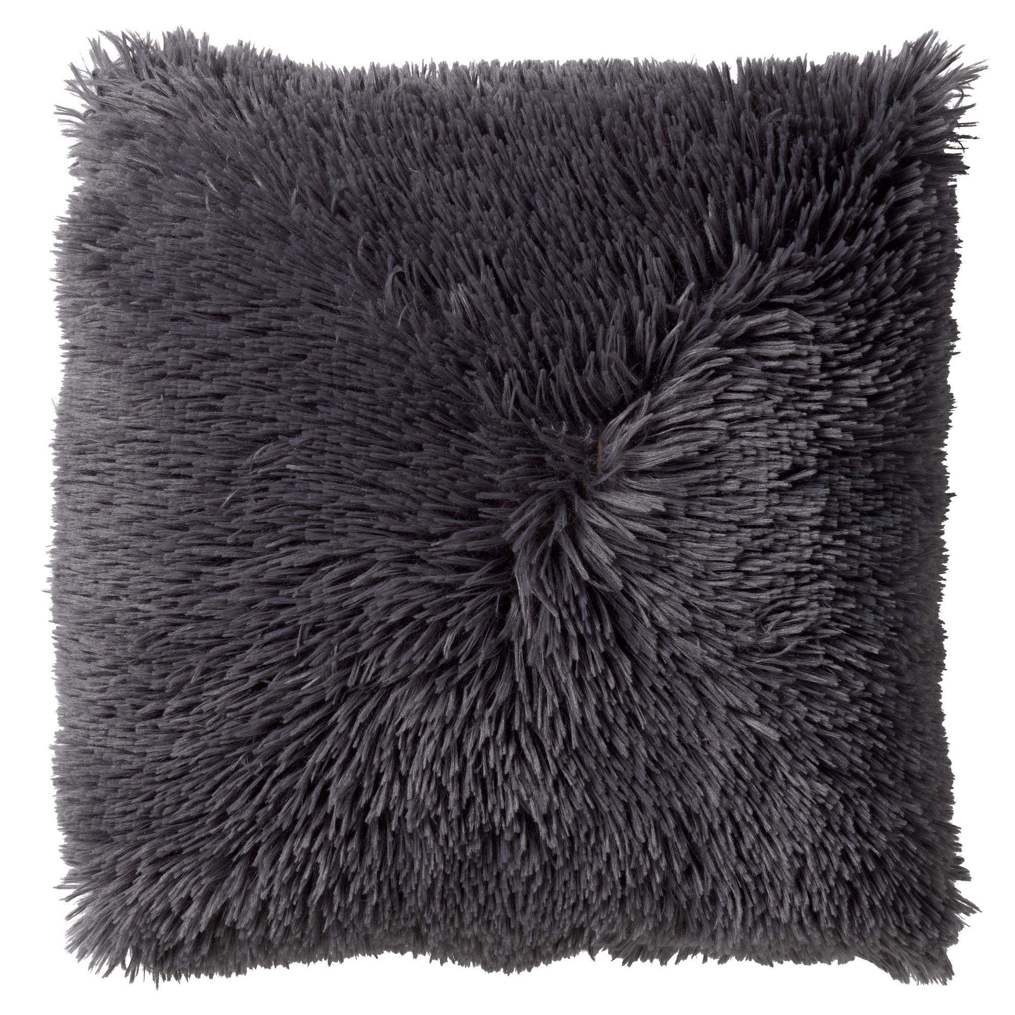FLUFFY - Sierkussen unikleur donkergrijs 45x45 cm