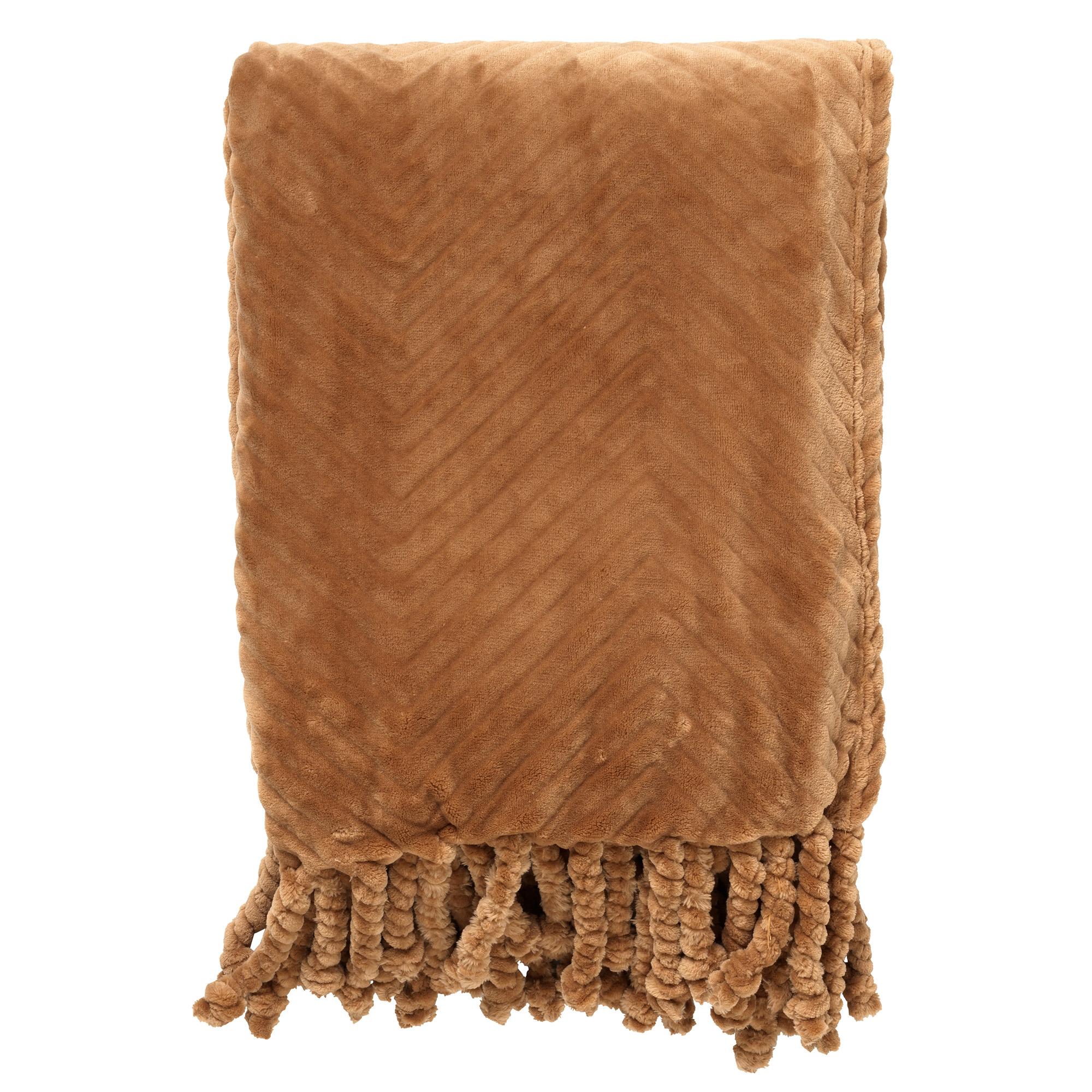 ZIGGY - Plaid van fleece 140x180 cm Tobacco Brown
