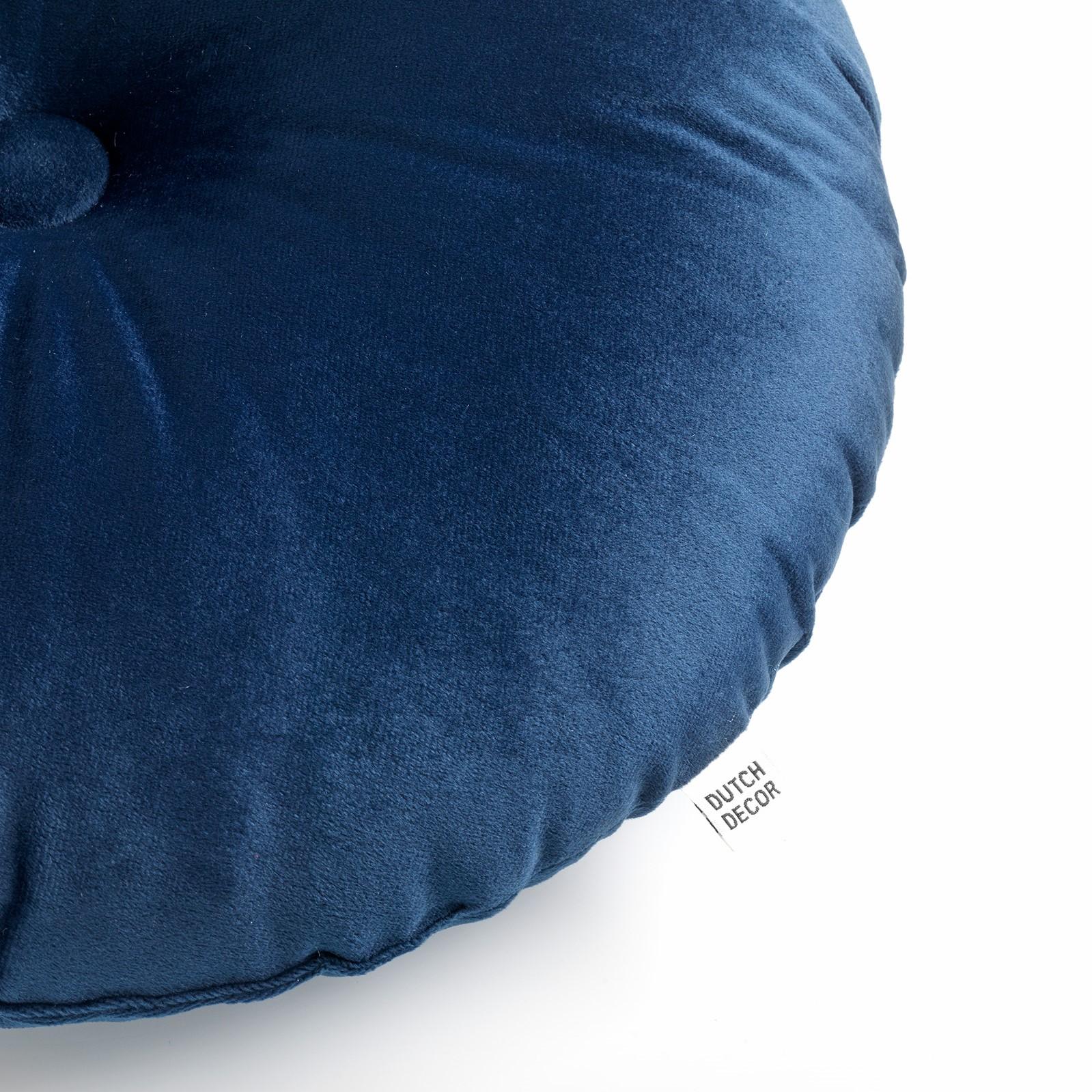 OLLY - Sierkussen rond velvet Insignia Blue 40 cm