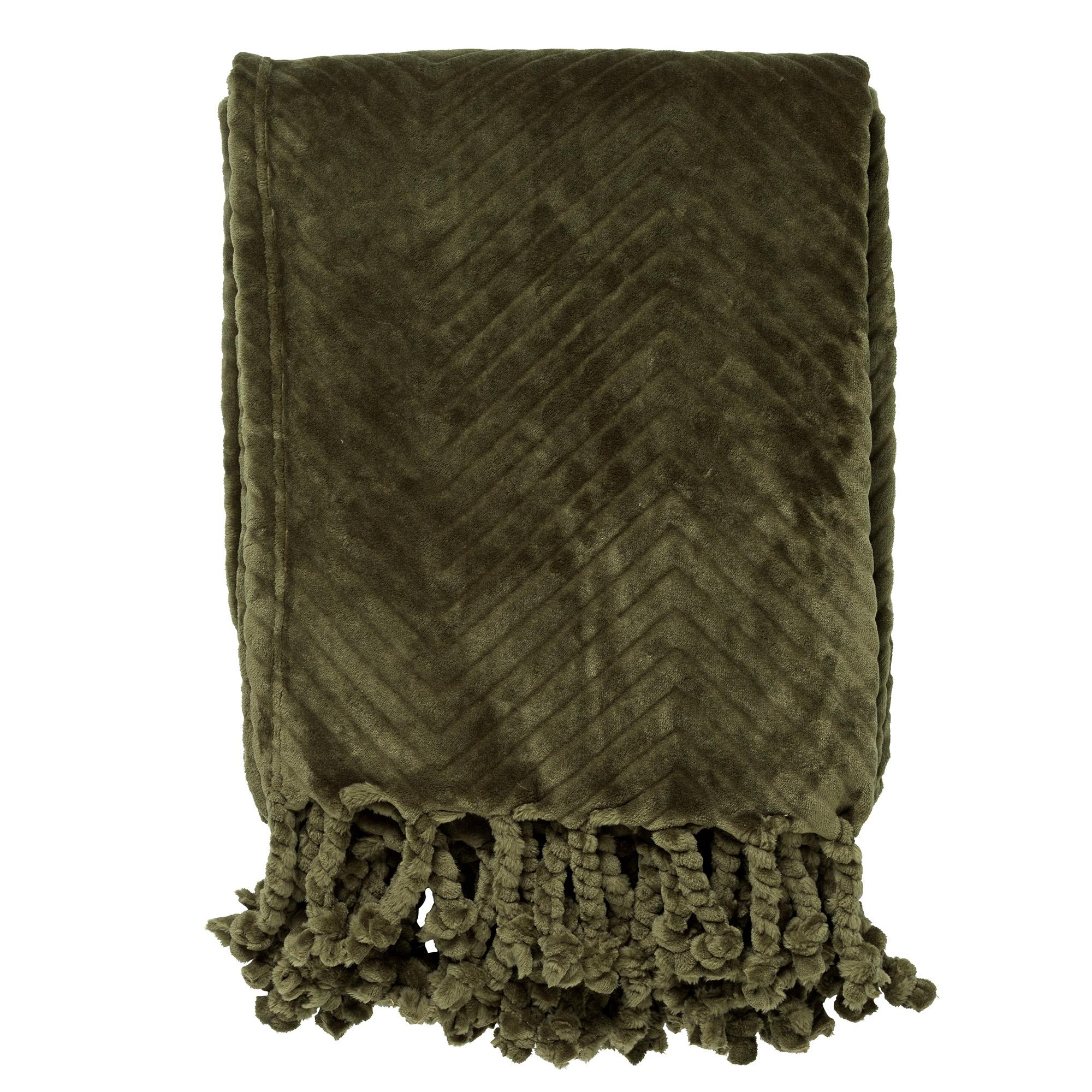ZIGGY - Plaid van fleece 140x180 cm Chive