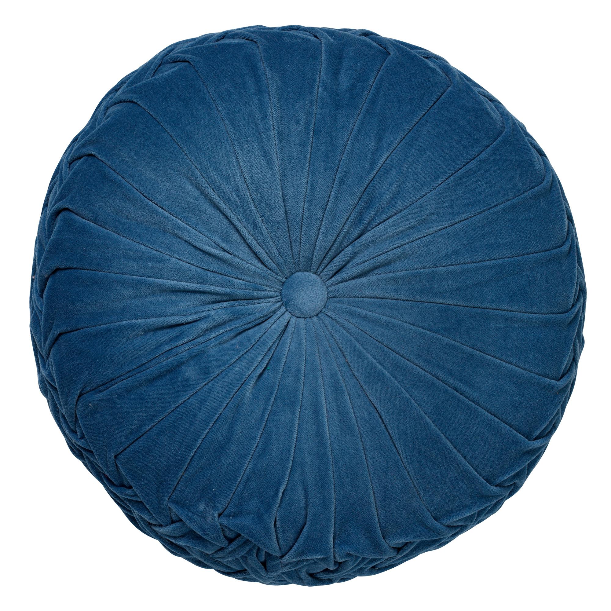 KAJA - Sierkussen rond velvet Provincial Bleu 40 cm