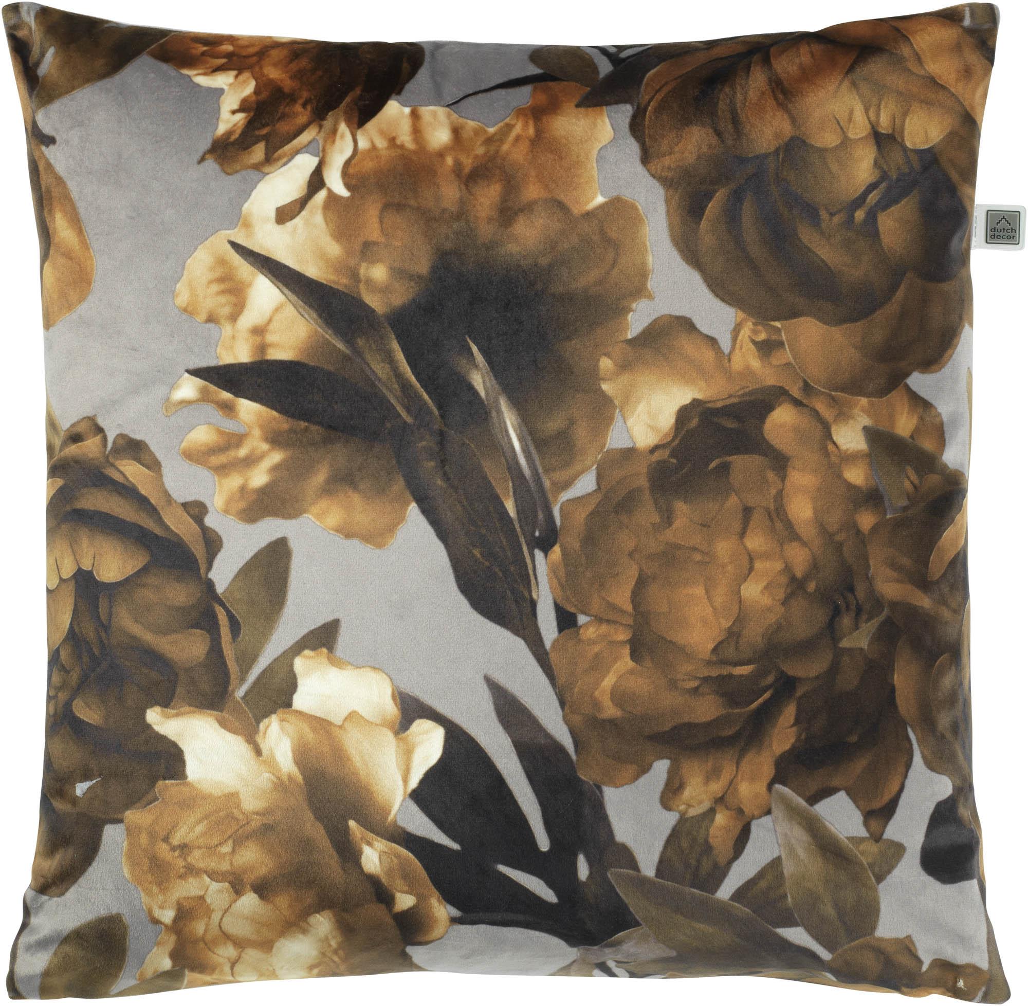 JILKE - Sierkussen met bloemenprint olijf 70x70 cm