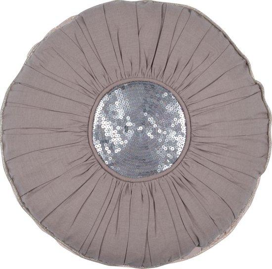 METTE - sierkussen rond katoen grijs 40 cm