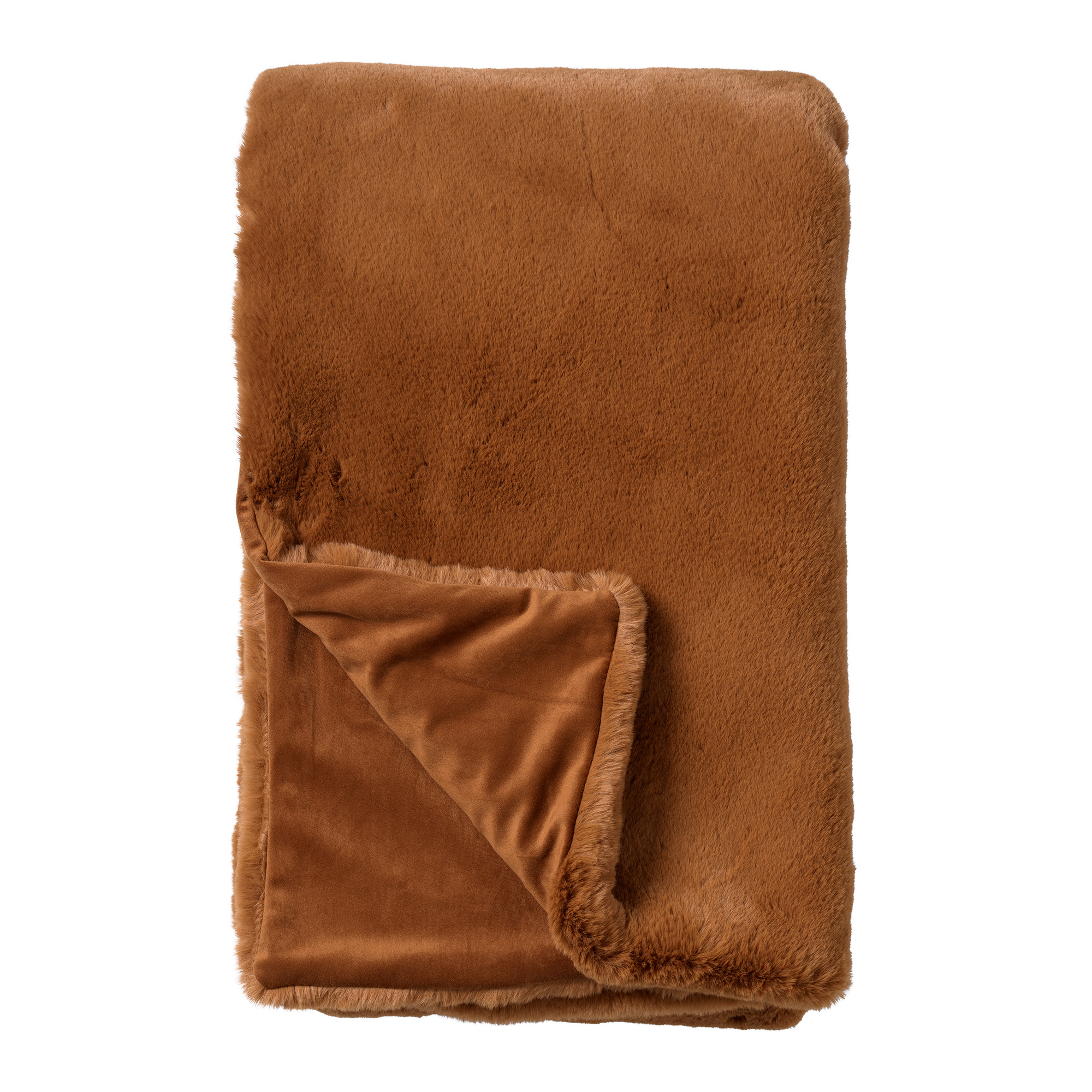 ZINZI - Plaid unikleur 140x180 cm Tobacco Brown
