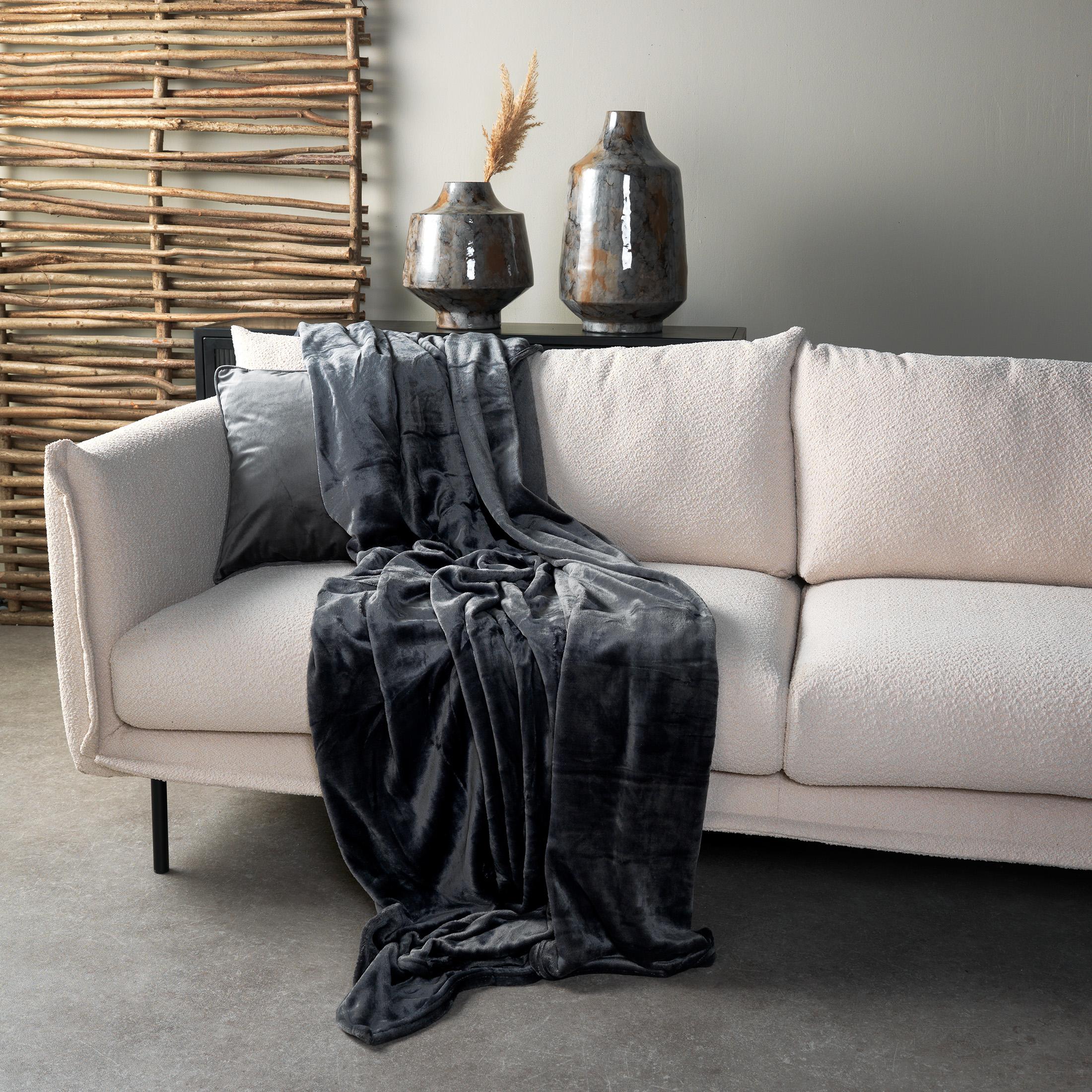 CHARLIE - Plaid Charcoal Grey 200x220 cm