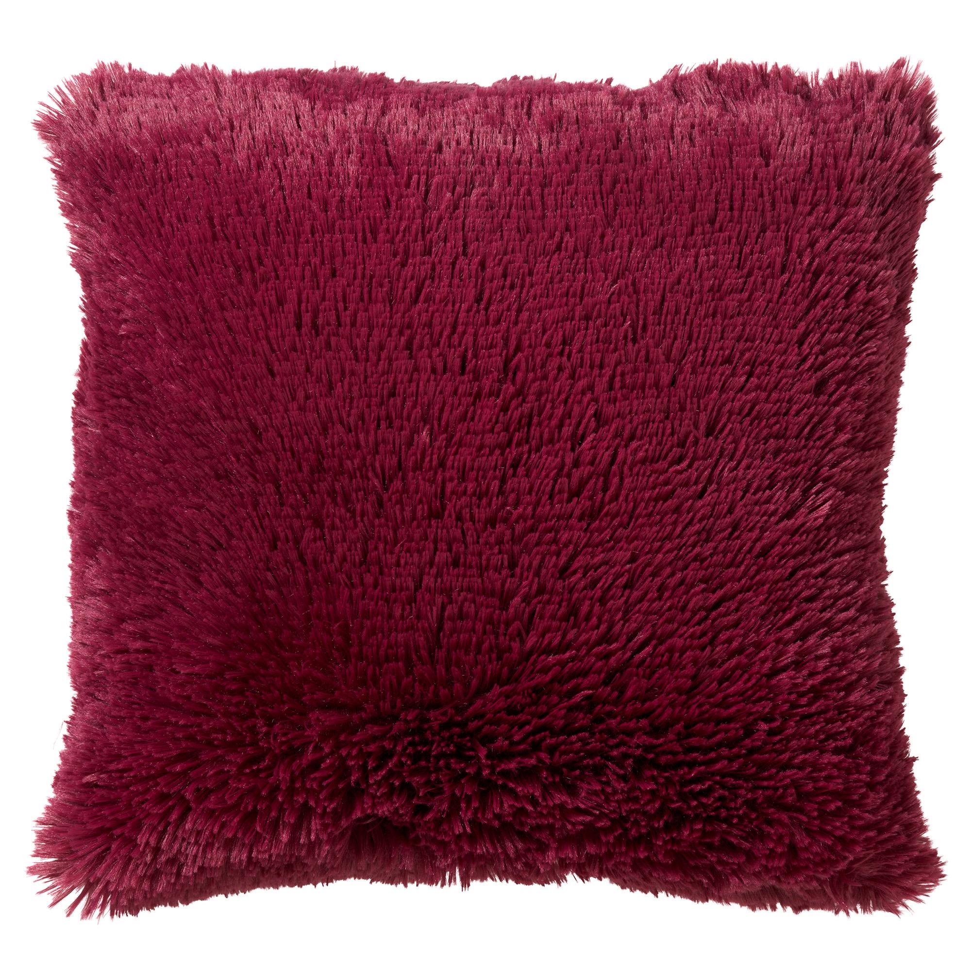 FLUFFY - Sierkussen unikleur Red Plum 60x60 cm