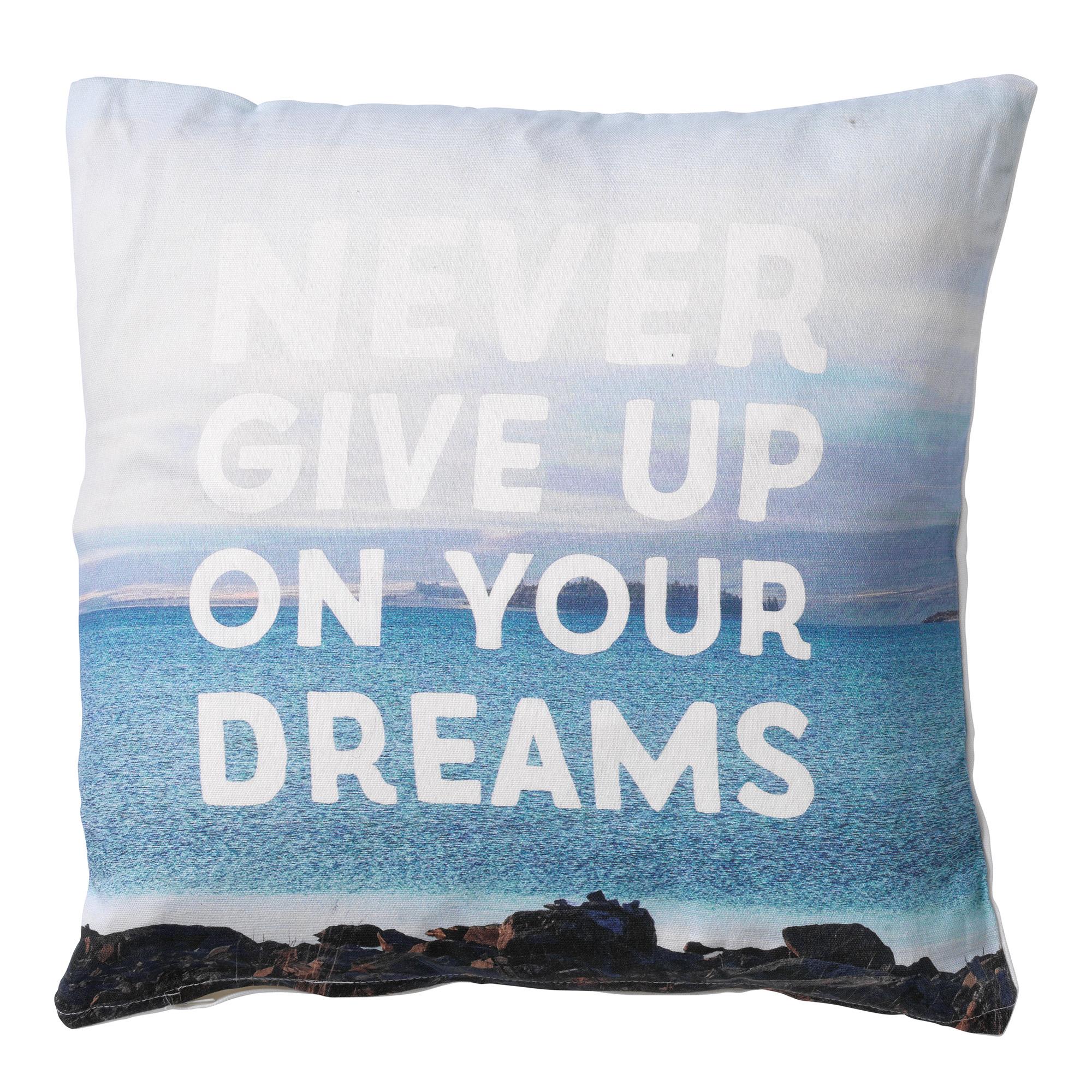 DREAMS - Sierkussen  met tekst blauw en wit 45x45 cm