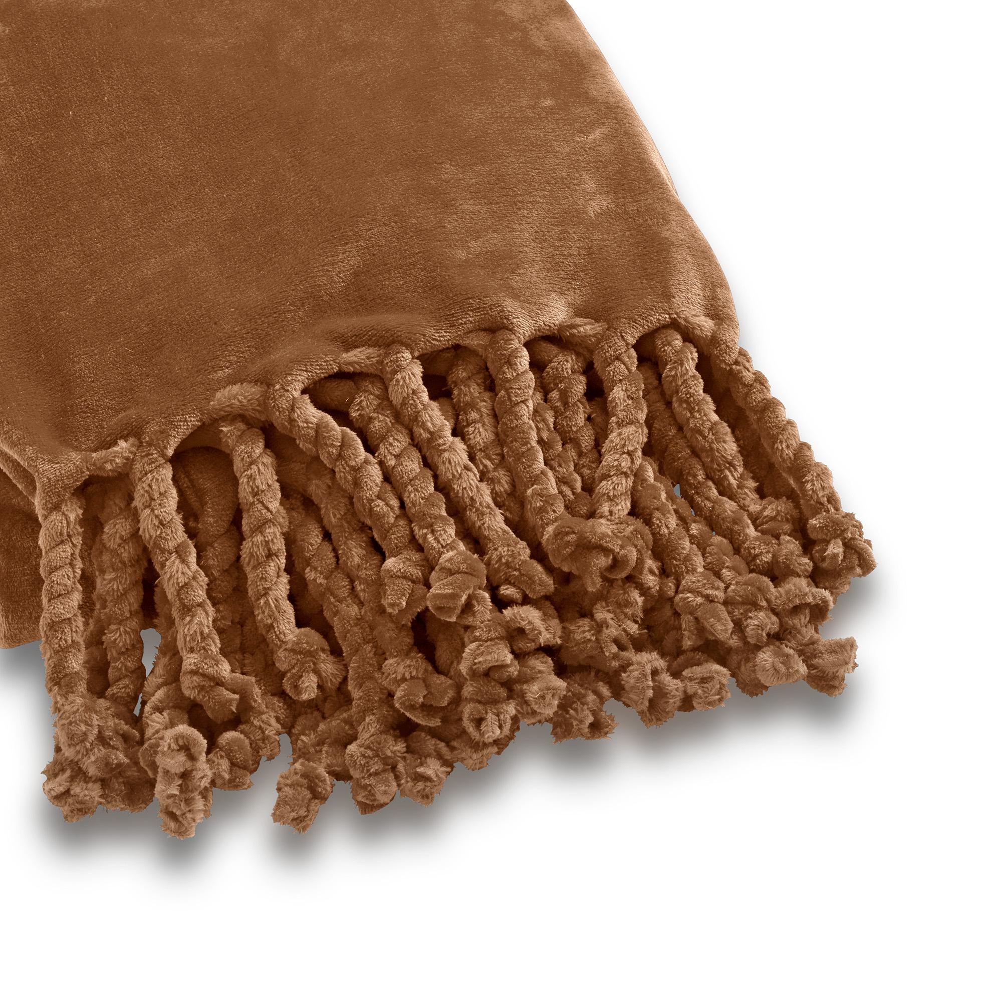 FLORIJN - Plaid van fleece 150x200 cm Tobacco Brown