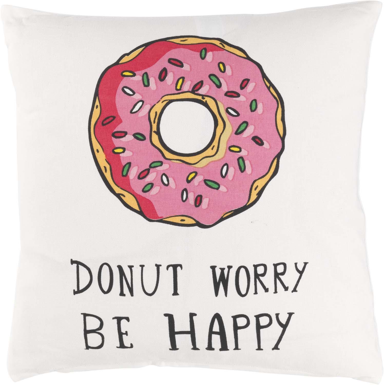 DIDI - Sierkussen met donut en tekst ivoor 45x45 cm