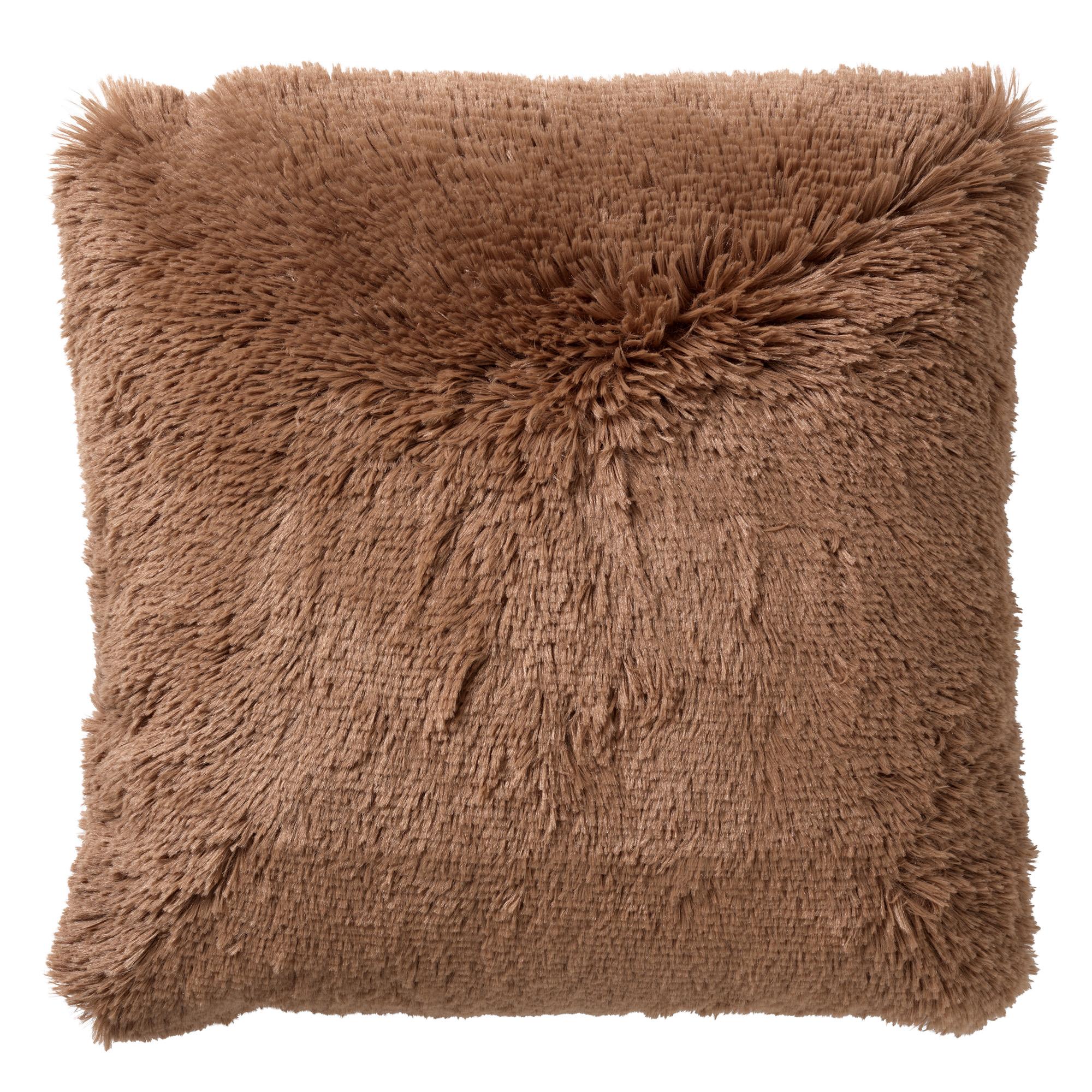 FLUFFY - Sierkussen unikleur Tobacco Brown 60x60 cm