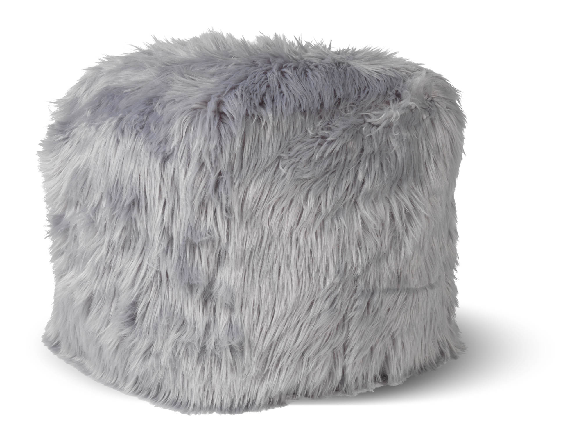 SHEEP - Vierkante fluffy poef lichtgrijs 40x40x40 cm
