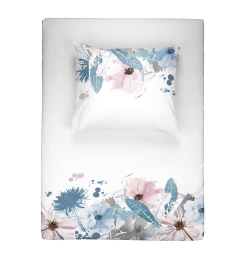 Dekbedovertrek Walra Flower Rain Wit Blauw Roze 140x220 cm 1-persoons dekbedovertrek