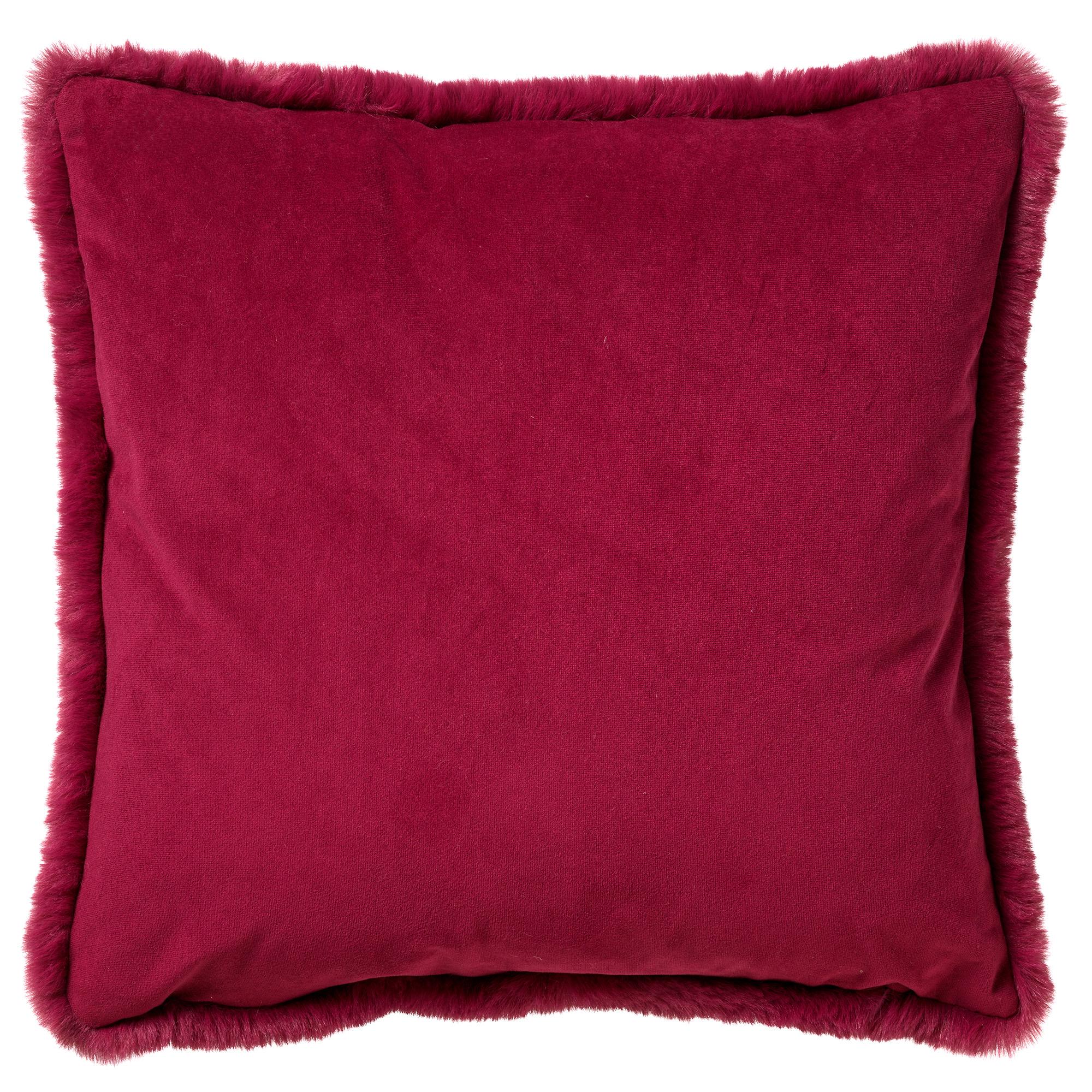 ZAYA - Sierkussen met imitatiebont Red Plum 45x45 cm