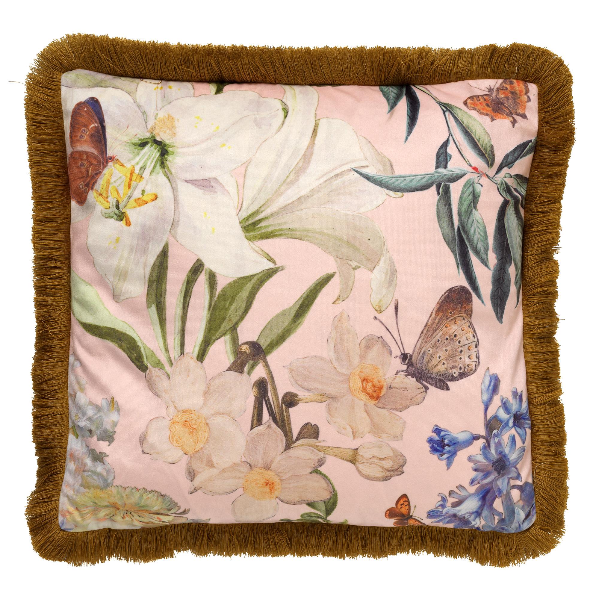 HANNA - Kussenhoes met bloemenpatroon Dusty Pink 45x45 cm