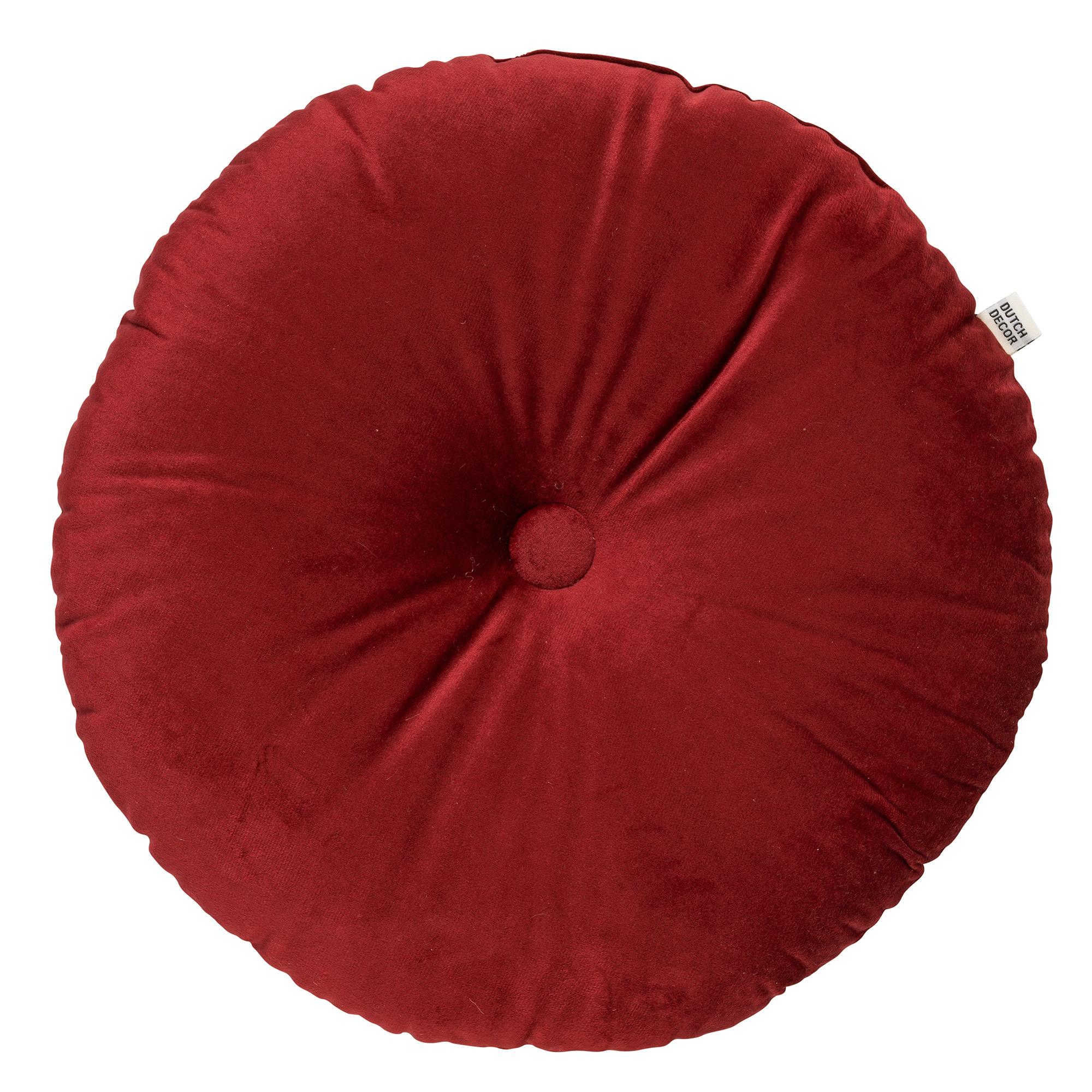 OLLY - Sierkussen rond velvet Merlot 40 cm