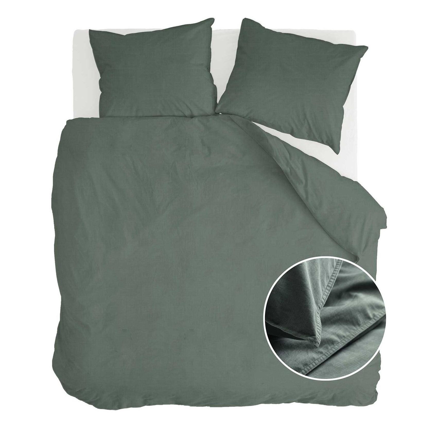 Dekbedovertrek Walra Vintage Katoen Donker Groen 200x220 cm 2-persoons dekbedovertrek