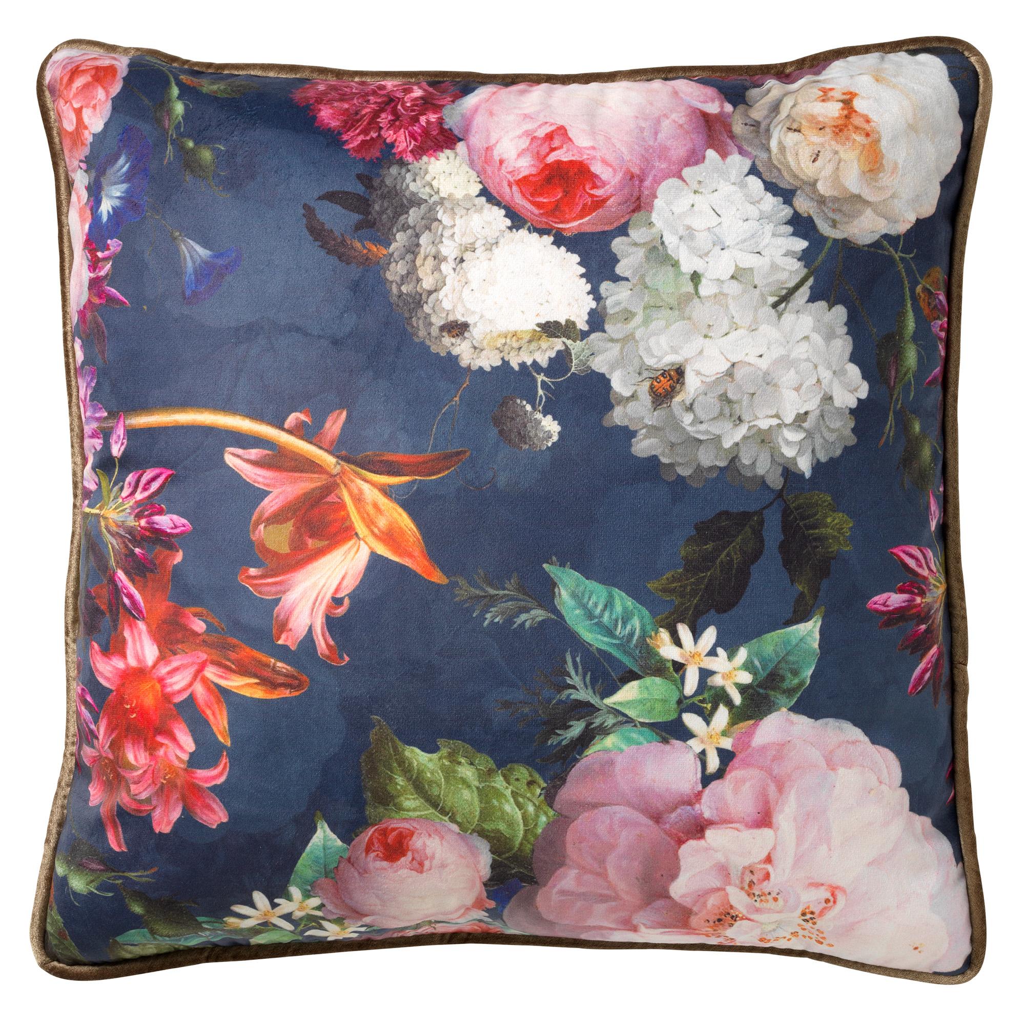 FENNA - Sierkussen met bloemenpatroon Insignia Blue 45x45 cm
