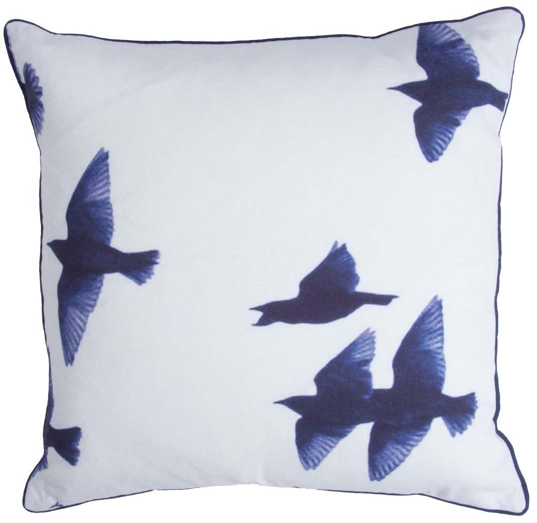 BLUE BIRDS - Walra Sierkussen met vogelprint blauw en wit 45x45 cm