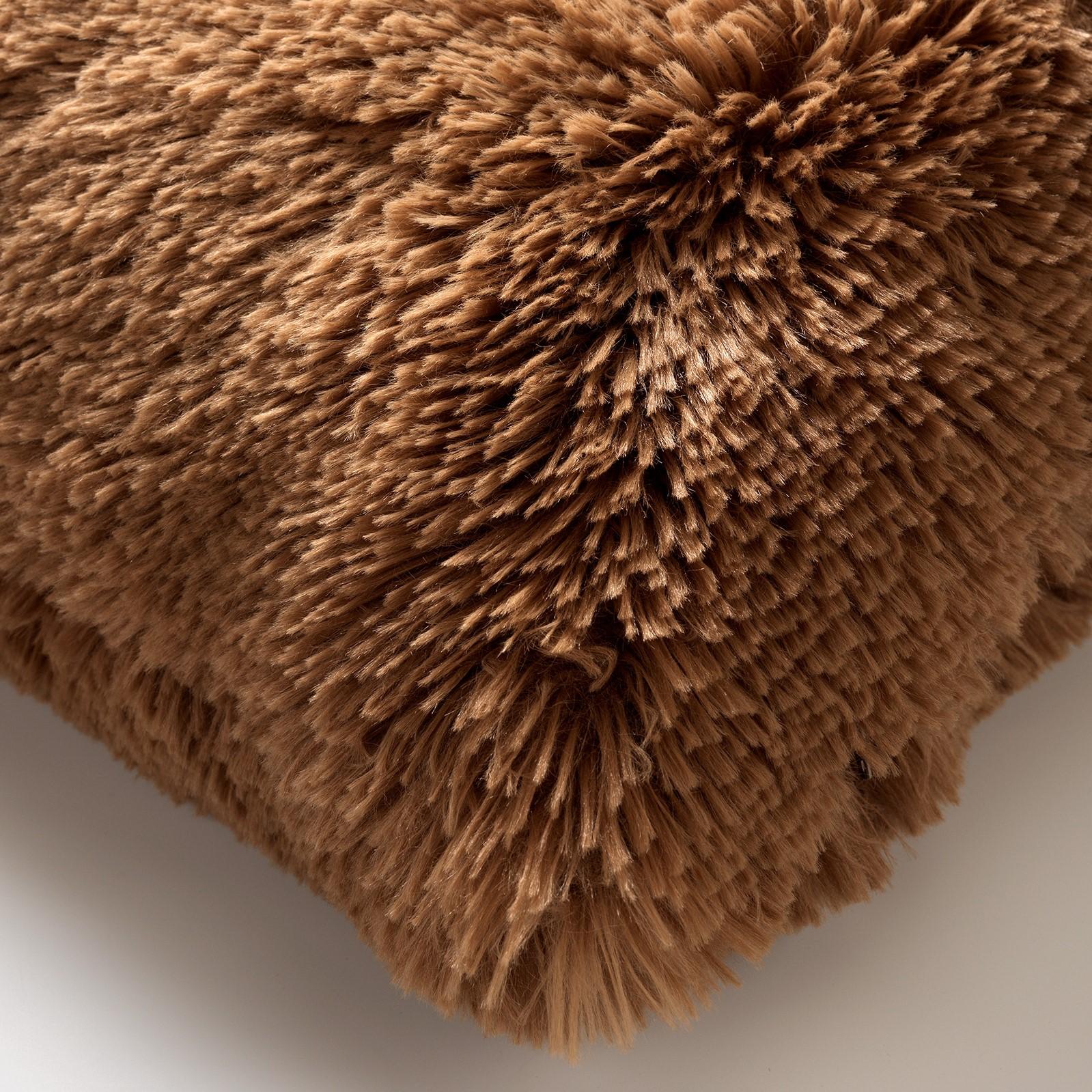 FLUFFY - Sierkussen unikleur Tobacco Brown 45x45 cm