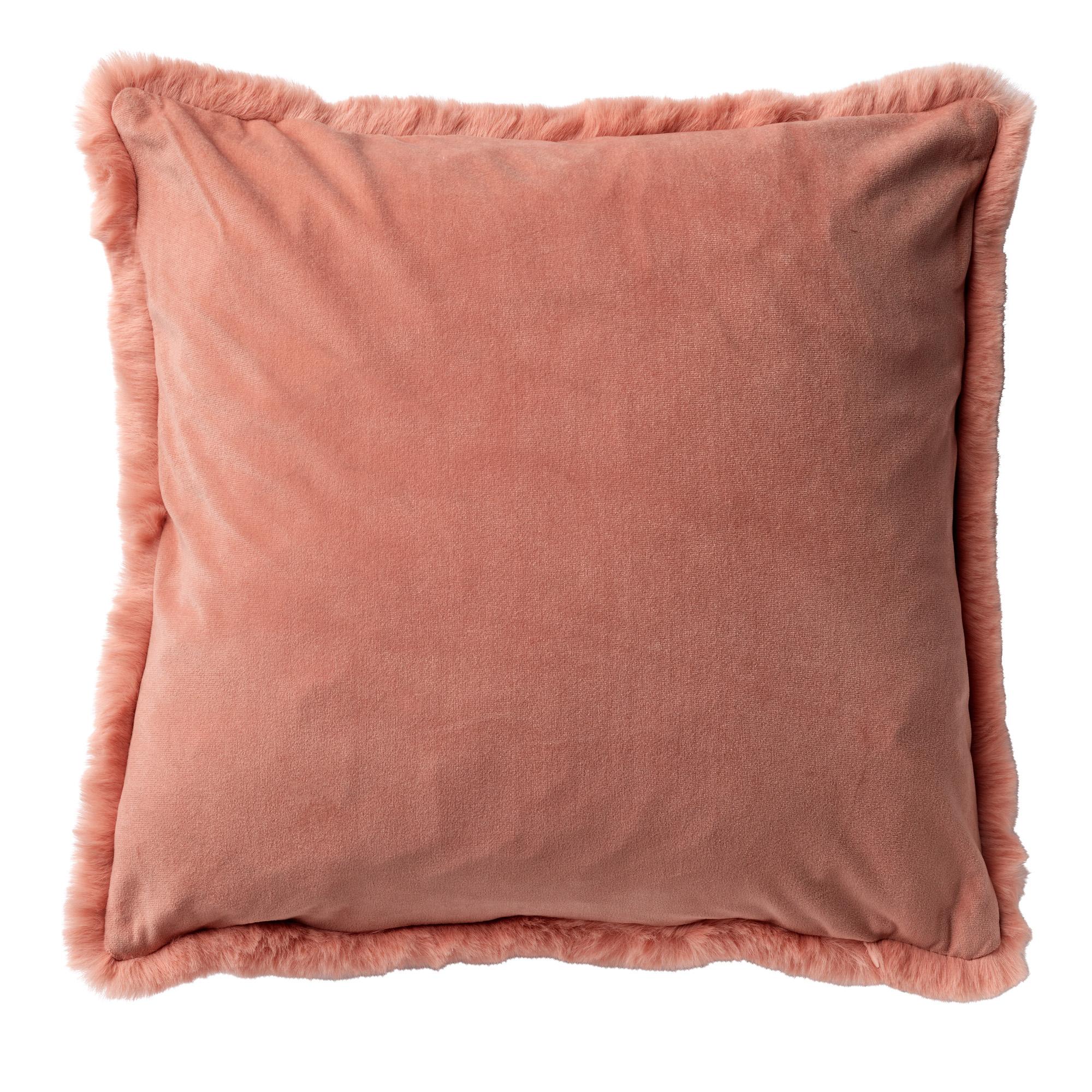 ZAYA - Sierkussen met imitatiebont Muted Clay 45x45 cm