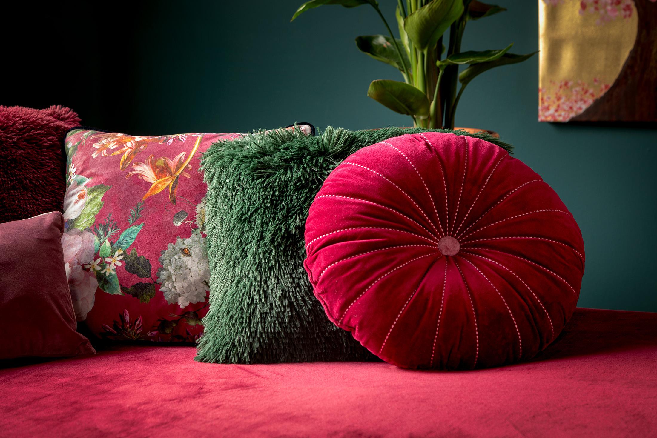 FENNA - Kussenhoes met bloemenpatroon Red Plum 45x45 cm