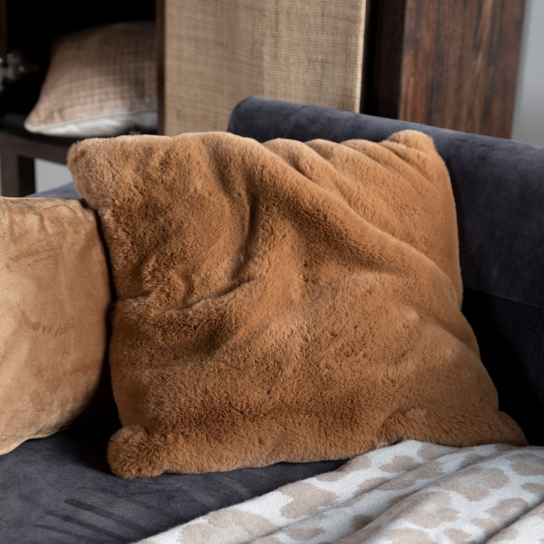 ZAYA - Sierkussen unikleur Tobacco Brown 45x45 cm