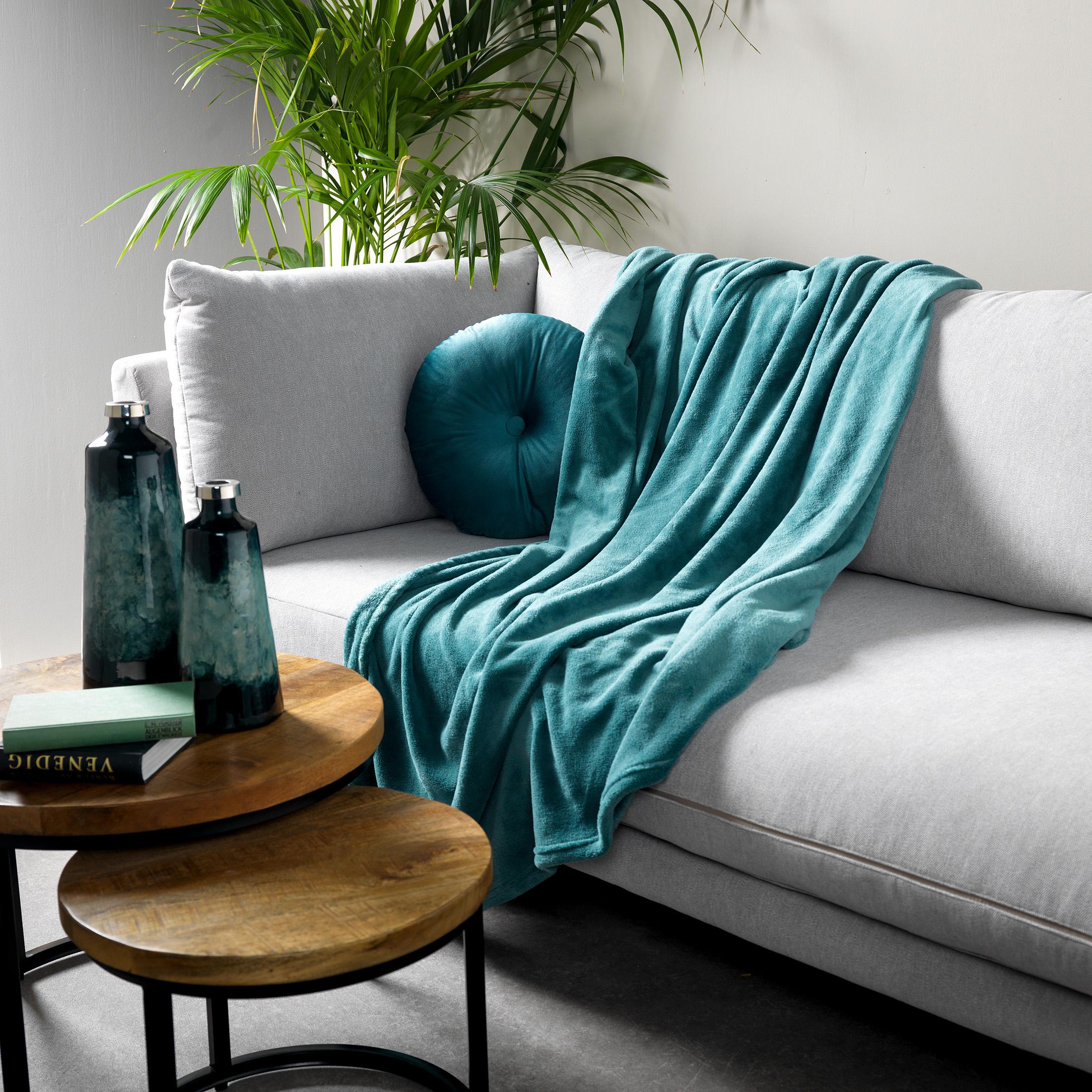 HARVEY - Plaid van fleece Sagebrush Green 150x200 cm