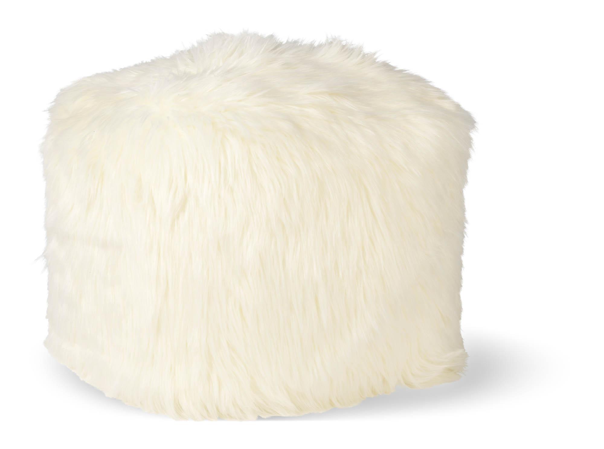 SHEEP - Vierkante fluffy poef ivoor 40x40x40 cm
